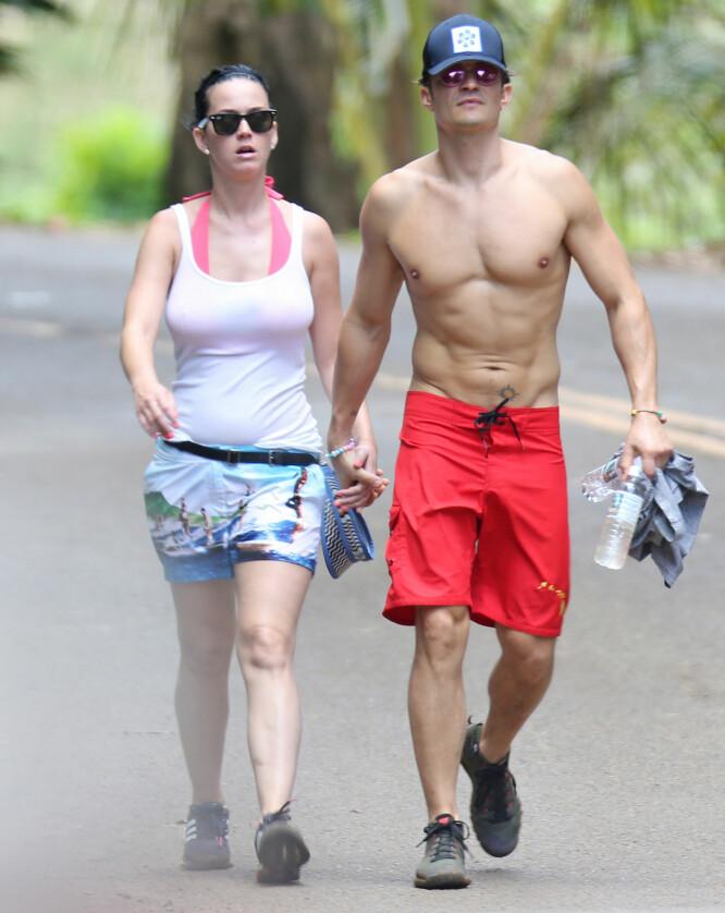 <strong>HÅND I HÅND:</strong> Både Katy og Orlando er glade i friluft og å holde seg i form. Foto: NTB Scanpix
