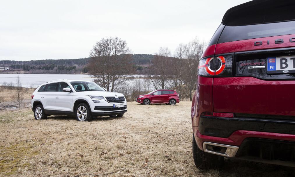 <strong>TØFF DUELL:</strong> Bladet Autofil har testet de tre populære SUV-ene Skoda Kodiaq, Ford Kuga og Land Rover Discovery Sport mot hverandre og kåret en verdig vinner. Mye tyder på at testvinneren blir den nye folkefavoritten. Alle foto: Kasper van Wallinga