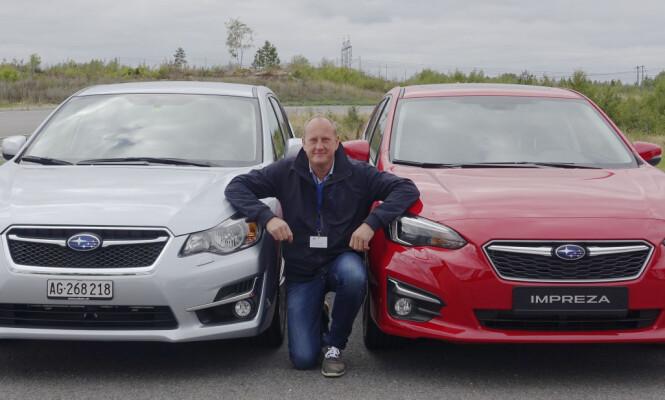 GAMMEL OG NY. Gamlingen i midten fikk anledning til å teste forrige modell (til venstre) mot nykommeren som selvfølgelig har blitt litt lengre og bredere, og en cm lavere. Subaru skynder seg sakte når det gjelder design. Foto Stian Thrane.