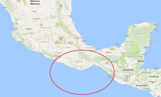 TSUNAMIVARSEL: Det er sendt ut tsunamivarsel for nærmest hele Mexicos sørkyst, fra Puerto Madero i sør til Acapulco i nord. Skjermdump: Google Maps