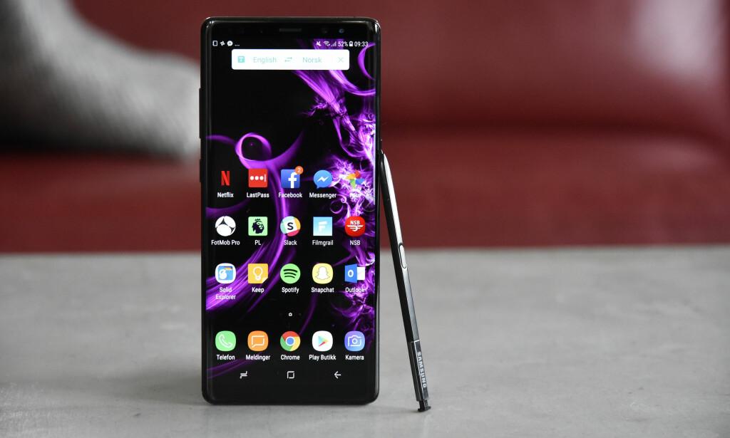 TOPPMODELLEN: Note 8 er Samsung toppmodell og koster rett i underkant av 10.000 kroner ved lansering. Foto: Pål Joakim Pollen