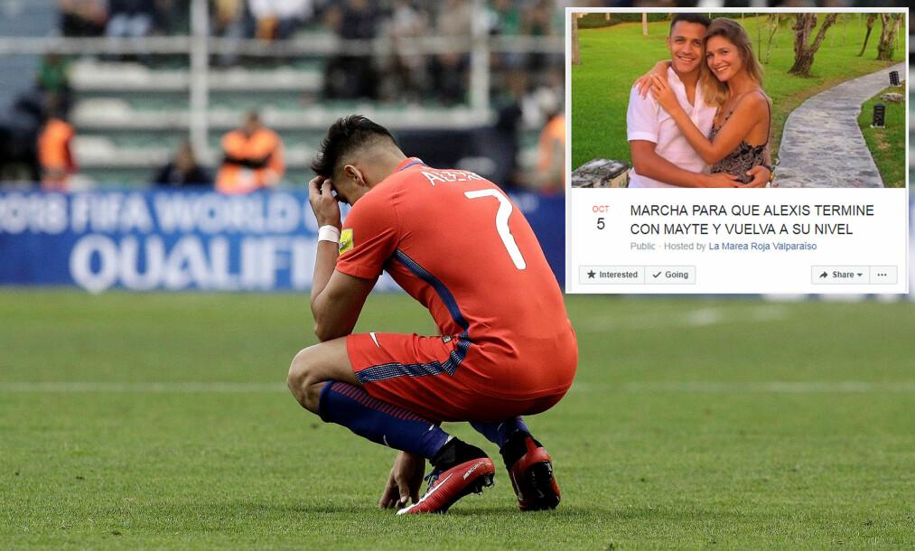 <strong>LØSNINGEN PÅ PROBLEMET:</strong> Chile-fans mener at Alexis Sanchez vil prestere bedre på landslaget om han kvitter seg med kjæresten sin. Foto: REUTERS/Daniel Rodrigo/NTB Scanpix