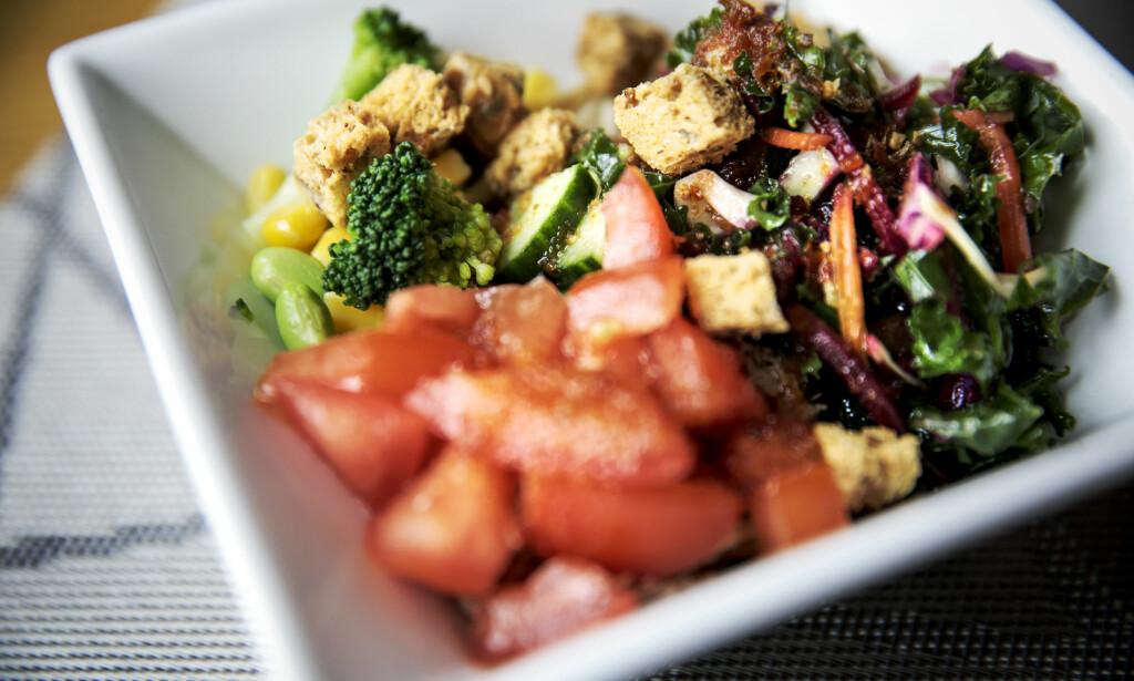SALAT: Stig Drageide valgte tomater, krutonger, grønnkålsalat, brokkoli og bønnesalat. Pris: 22 kroner.