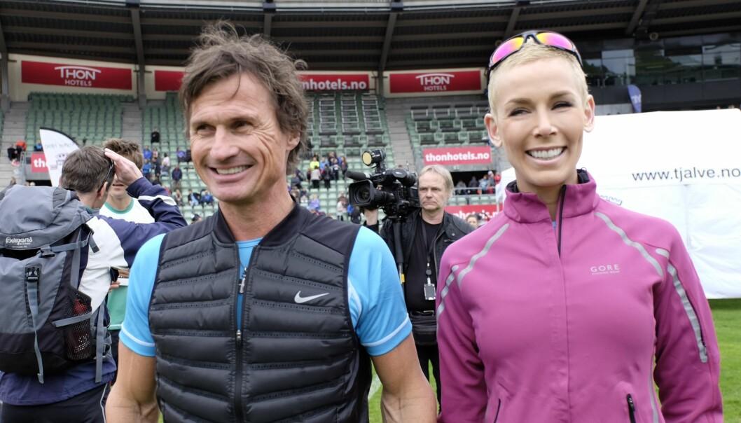 <strong>SPORTY PAR:</strong> Petter og Gunhild Stordalen fotografert under Holmenkollstafetten 2015. Foto: NTB Scanpix