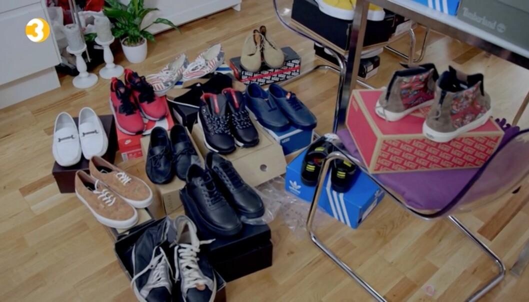 SKO FOR TUSENER: Jeremy Fitzgerald hadde store vansker for å selge skoene sine, slik at økonomene kunne forhandle med kreditorene. Foto: TV3