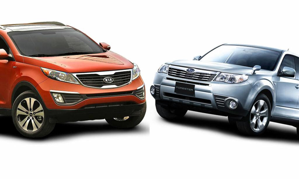 TØFF DUELL: Kia Sportage (til venstre) og Subaru Forester i SUV-duell. Er du en urban person, eller er du en landsens naturnyter. Vi har testet SUV-ene mot hverandre og forteller deg alt du måte før du kjøper en av disse brukt. Foto: Kia og Subaru