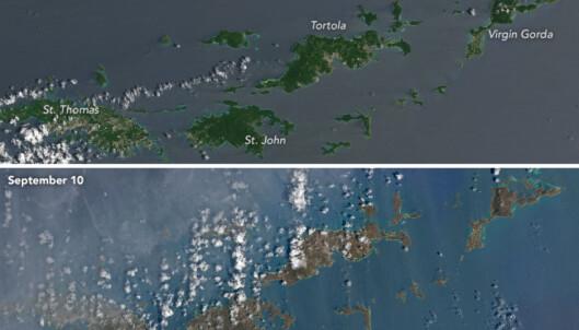 Satellittbilder viser de ekstreme ødeleggelsene etter orkanen «Irma»