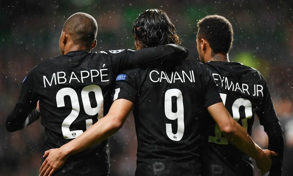 STJERER: Kylian Mbappé, Edinson Cavani og Neymar scoret alle da Celtic ble knust i Glasgow. Foto: AFP PHOTO / FRANCK FIFE