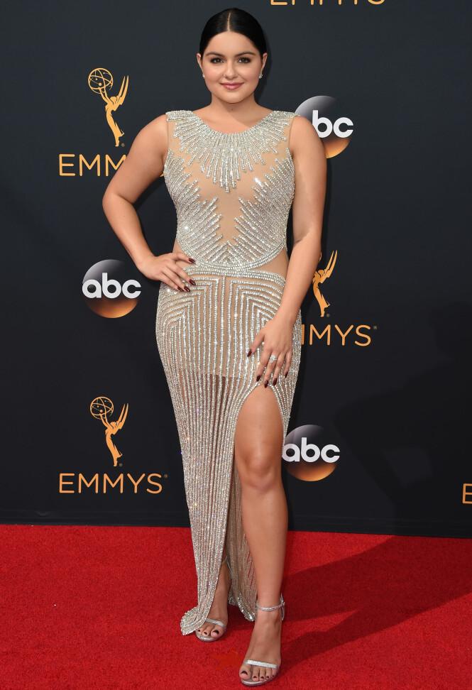 <strong>HERMEGÅS?:</strong> Bare et par dager før Ariel Winter brukte denne kjolen i 2016, hadde Kylie Jenner brukt den på et event i New York. Foto: NTB Scanpix
