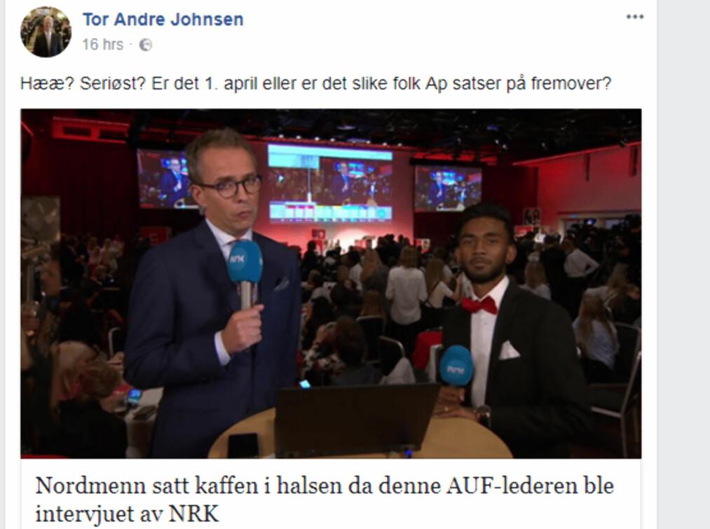 <strong>DELTE:</strong> Frps Tor André Johnsen delte denne artikkelen fra nettstedet 24avisen.com. Nå får han flengende kritikk fra AUF. Foto: Skjermdump