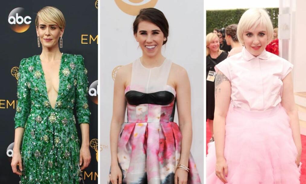 <strong>BLE REFSET:</strong> Sarah Paulson, Zosia Mamet og Lena Dunham har fått kritikk for kjoler de har brukt på den røde løperen. Foto: NTB Scanpix
