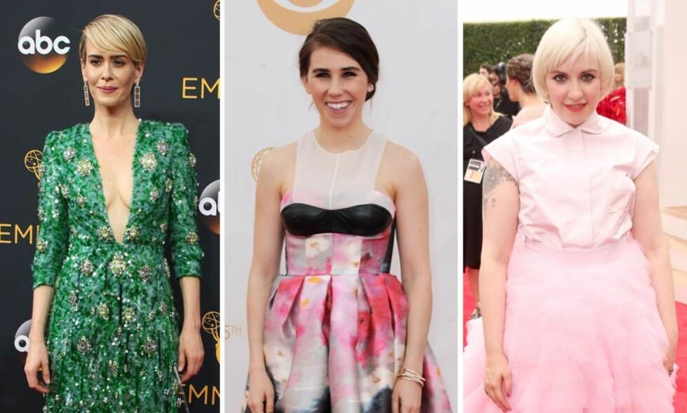 BLE REFSET: Sarah Paulson, Zosia Mamet og Lena Dunham har fått kritikk for kjoler de har brukt på den røde løperen. Foto: NTB Scanpix