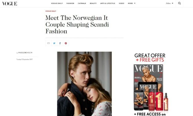 INTERNASJONAL OPPMERKSOMHET: Henrik Holm og Lea Meyer har møtt britiske Vogue, noe som resulterte i både en fotoshoot og et stort intervju. Magasinet sparer ikke på komplimentene når de beskriver paret som Norges Johnny Depp og Kate Moss. Foto: Faksimile