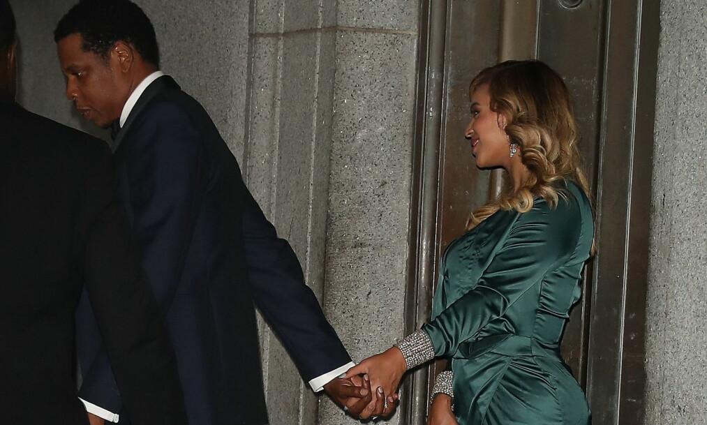 PÅ BALL: Beyoncé og Jay Z så ut til å trives i hverandres selskap under Diamond Ball torsdag kveld. Foto: Splash News