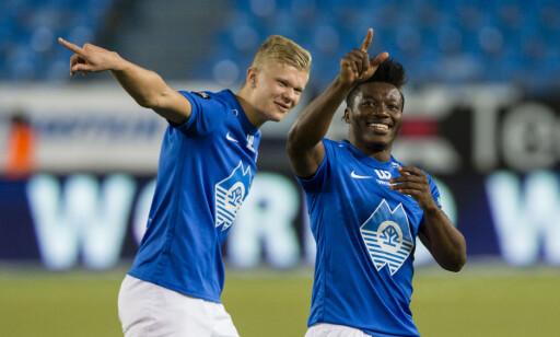 STORTALENT: Erling Braut Håland, her sammen med Thomas Amang, er født i år 2000, men har likevel scoret flere mål for Molde i Eliteserien. Foto: Svein Ove Ekornesvåg / NTB scanpix
