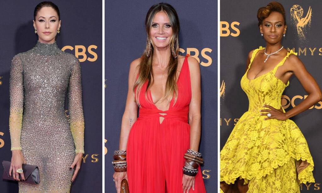 FÅR SLAKT: Amanda Crew, Heidi Klum og Ryan Michelle Bathe er blant stjernene som ikke traff blink på årets Emmy Awards. Foto: NTB scanpix