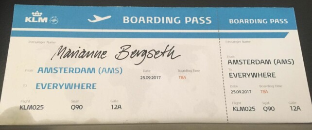 TIDENES BOARDINGPASS: Fra Amsterdam til hvor som helst i verden. Det er virkeligheten for Marianne Bergseth de neste månedene. Foto: Privat