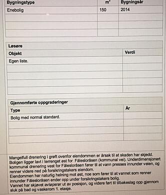 """<strong>UNDERDIMENSJONERT KOMMUNAL DRENERING:</strong> I sin rapport skriver Strandbergs forsikringsselskap Gjensidige at vannet skyldes """"mangelfull drenering i grøft overfor eiendommen"""". Foto: Fredrik Strandberg"""