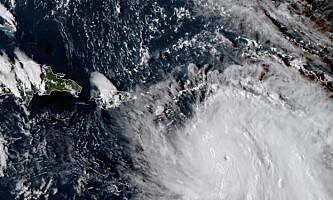 <strong>LIVSFARLIG:</strong> Orkanen «Maria» ble avbildet kort tid før den nådde land på Dominica. Foto: NASA via AP / NTB scanpix