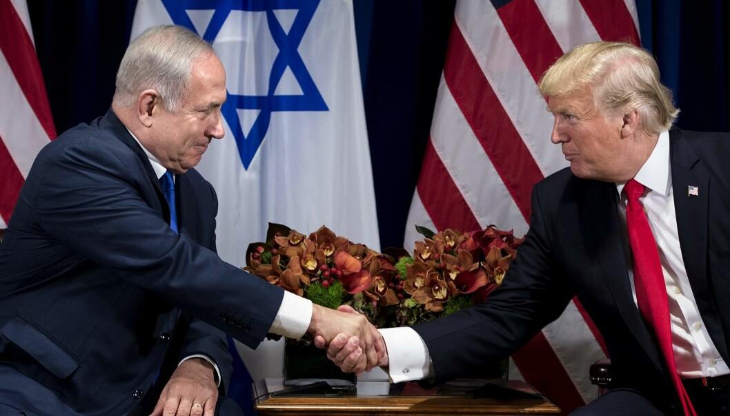 GODE VENNER: Donald Trump og Israels statsminister Benjamin Netanyahu i FN i går. Foto: AFP / NTB Scanpix