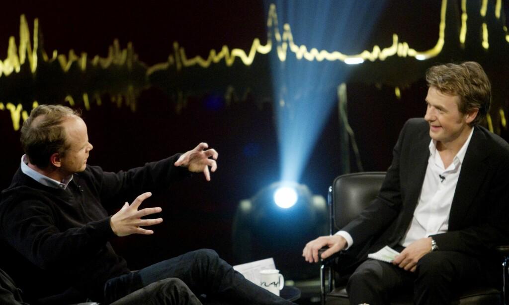 DREVNE: Harald Eia og Fredrik Skavlan, som begge uttaler seg i den nye boken, har et avslappet forhold til å stå i en mediestorm. Det er det mange andre som ikke har. Foto: Kyrre Lien.