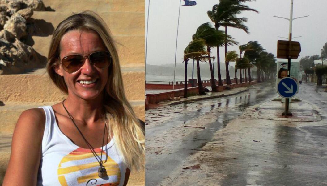 <strong>I STORMENS ØYE:</strong> Norske Hege Holt (40) stålsetter seg for den andre livsfarlige orkanen på to uke. Først herjet «Irma» på Den dominikanske republikk, nå er «Maria» på vei. Foto: Dominique Chomereau-Lamotte / AP / NTB scanpix, privat.