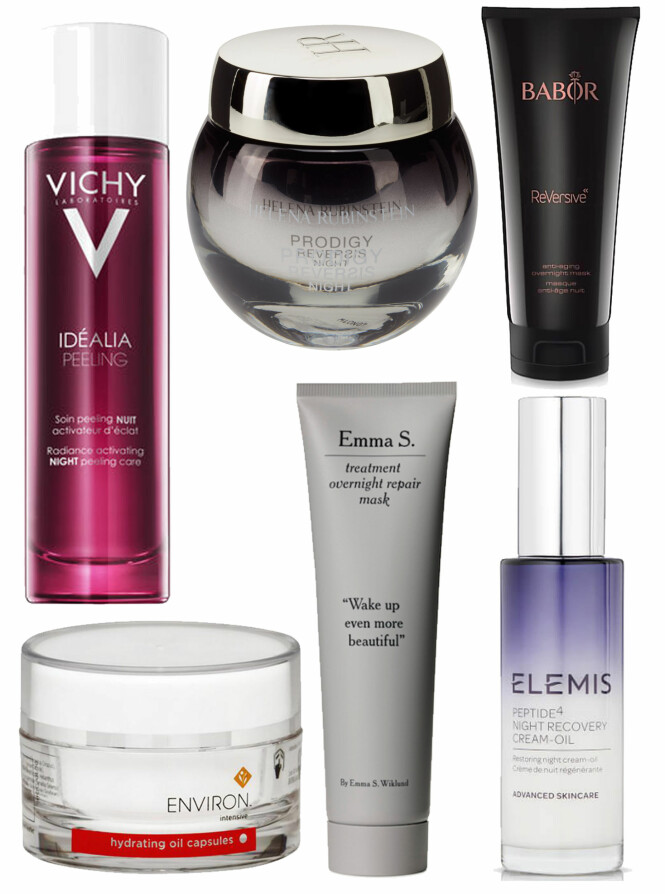 KREMENE SOM JOBBER MENS DU SOVER: Vichy Idealia Peeling, kr 349,90. Helena Rubinstein Prodigy Reversis Night, kr 2085 via Kicks.no. Babor ReVersive, kr 545. Environ Hydrating Oil Capsules, kr 550. Emma S. Treatment Overnight Repair Mask, kr 349. Elemes Peptide4 Night Recovery Cream-Oil, kr 539 via Lookfantastic.com. Foto: Produsentene