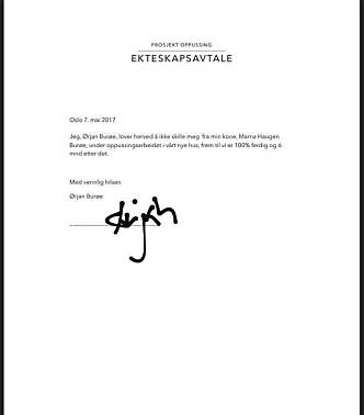 P SVART PÅ HVITT: Marna ga Ørjan en kontrakt da han dro på jobbreise etter en heftig krangel. Han signerte digitalt, og forpliktet seg til å ikke skille seg før minst seks måneder etter at oppussingen av huset er ferdig. Foto: Komikerfrue.no