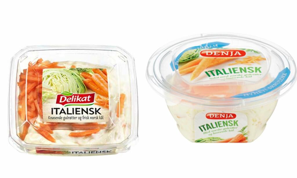 GJENNOMSIKTIG: Hos hovedkonkurrent Delikat er toppingen på salaten synlig - et grep som har gjort dem til markedsleder. Denja fikk ikke ny emballasje på plass før i 2015. Foto: Produsentene