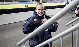 <strong>TOMMEL OPP:</strong> Guro Reiten var fornøyd med en ny scoring mot Slovakia. Foto: Bjørn Langsem / Dagbladet