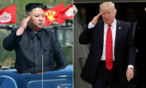 KRIGSHISSING: Nord-Koreas diktator Kim Jong-un og USAs president Donald J. Trump har begge rettet en rekke trusler mot hverandre de siste ukene. Foto: NTB Scanpix