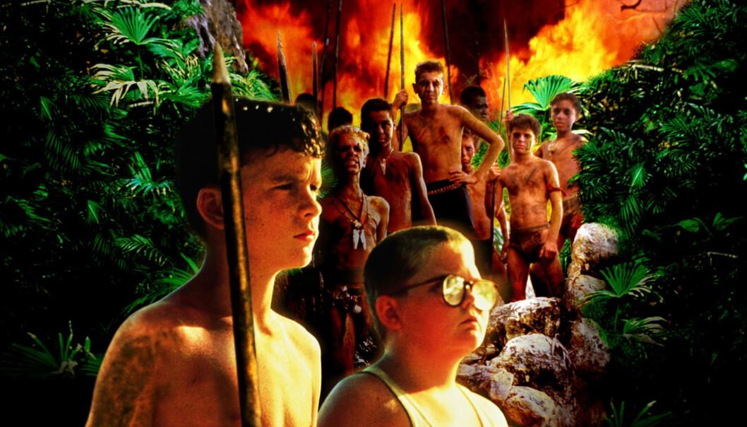 <strong>NY AKTUALITET:</strong> Filmplakat for «Lord of the Flies» fra 1990. I forgrunnen Ralph og Gisgis, mens jegerhøvdingen og utfordreren Jack skimtes i bakgrunnen. Foto: NTB SCANPIX