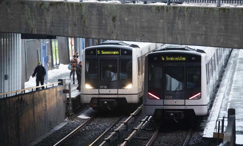 T-banen i Oslo står for andre dag på rad. Illustrasjonsfoto: Terje Bendiksby / NTB scanpix