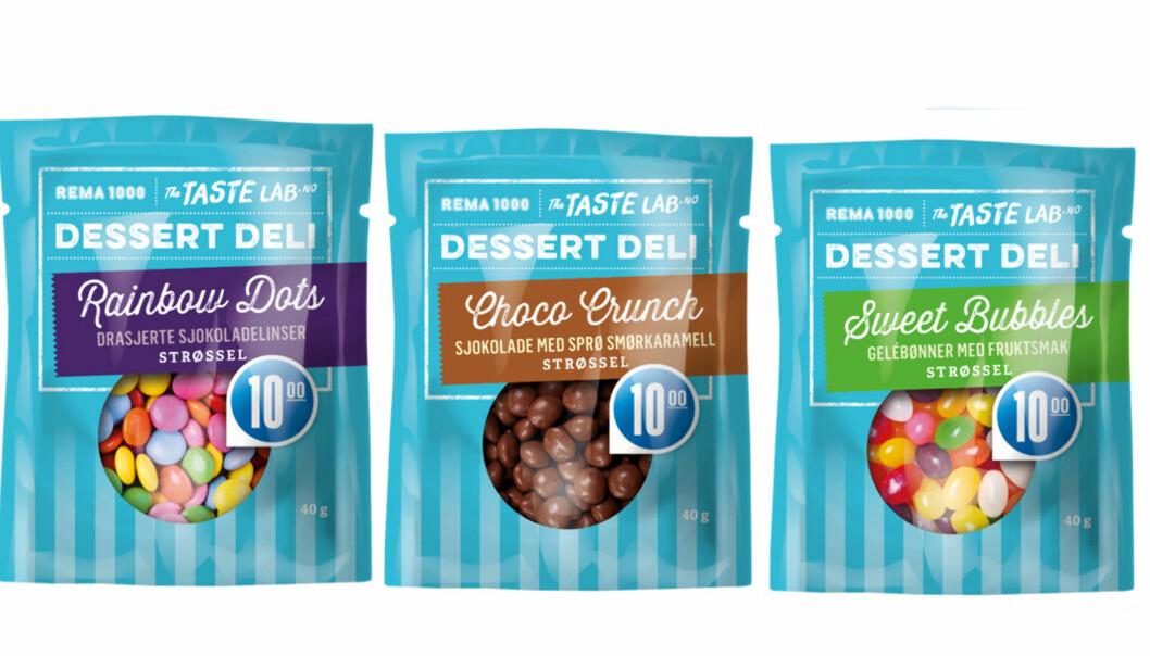 TOPPING: Fra Rema 1000 kommer tre nye strøssel som du kan ha på iskrem eller andre desserter.