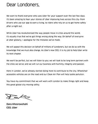 SKREV BREV: Ubers toppsjef skrev brev til Lonson innbyggere og lovet bort og bedring