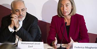 HETE KANDIDATER Irans utenriksminister Mohammad Javad Zarif og EUs utenrikssjef Federica Mogherini. Foto: Håkon Mosvold Larsen / NTB scanpix