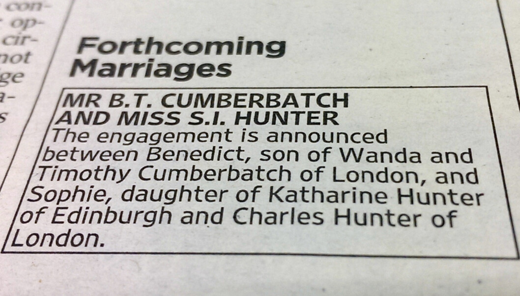 TRADISJONELLE: Tre år tidligere avslørte Benedict Cumberbatch at han hadde forlovet seg med Sophie Hunter i samme avis som Kit og Rose. Foto: NTB Scanpix