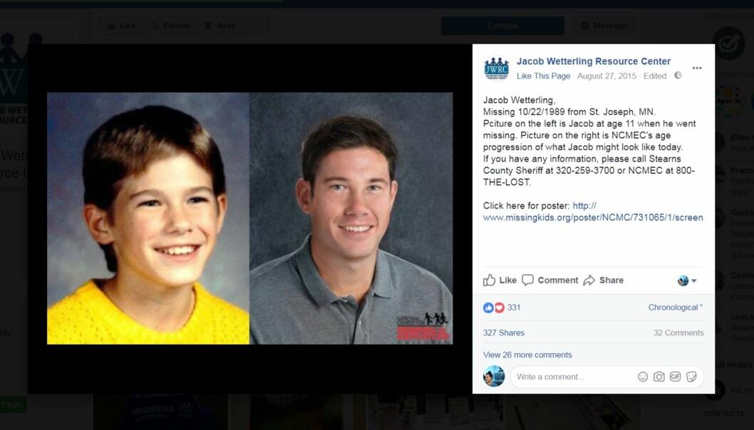 <strong>BORTFØRT:</strong> Bildet til venstre viser Jacob Wetterling slik han så ut da han ble bortført i 1989. Bildet til høyre er en bildemanipulasjon av slik man antok at han ville ha sett ut i 2015. Foto: Skjermdump av Facebook-siden til Jacob Wetterling Resource Center