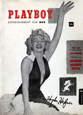 SAMMEN I EVIGHETEN: Hugh Hefner skal gravlegges ved siden av Playboys første cover-modell, Marilyn Monroe. Denne utgaven er fra desember 1953. Foto: NTB Scanpix