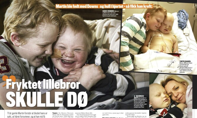 <strong>STØTTER BROREN:</strong> Markus har i flere år vært en god støtte for sin lillebror. Faksimile: Se og Hør.