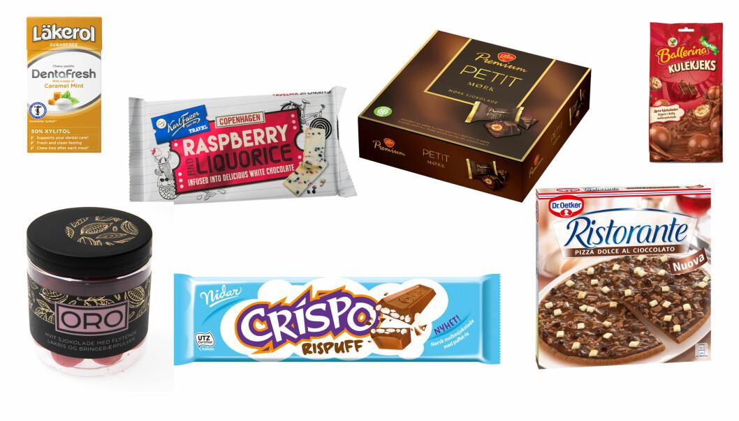 SØTT OG GODT: Her er noen av de mange sjokolade- og godterinyhetene som er i butikk - nå. Foto: Produsentene