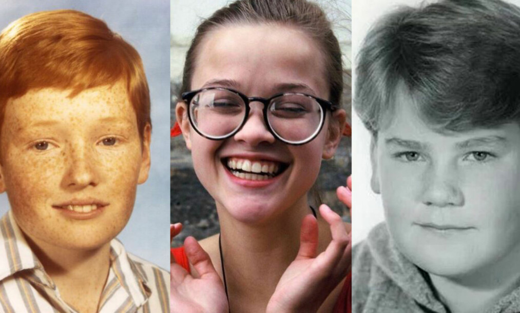 <strong>DELER BILDER:</strong> Conan O'Brien, Reese Witherspoon og James Cordon er blant flere store stjerner som har delt bilder av seg selv fra ungdomstida på sosiale medier de siste dagene. Foto: Instagram / Twitter