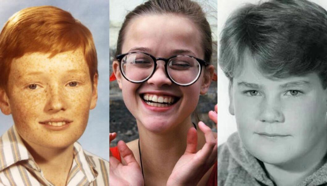 DELER BILDER: Conan O'Brien, Reese Witherspoon og James Cordon er blant flere store stjerner som har delt bilder av seg selv fra ungdomstida på sosiale medier de siste dagene. Foto: Instagram / Twitter