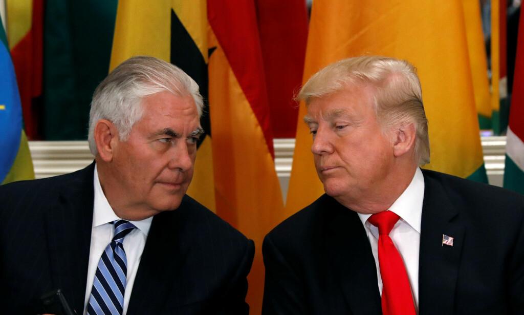 FÅTT SPARKEN: Utenriksminister Rex Tillerson fikk i forrige uke beskjed av president Trump om å tre til side. Foto: Reuters/NTB Scanpix
