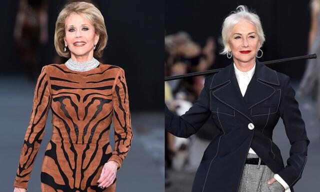 9f90ceba IKONER: Jane Fonda og Helen Mirren dukket plutselig opp på catwalken i  Paris, til
