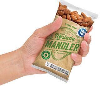 MINDRE: Stadig flere lanserer mindre varianter av nøtter og mandler, nå også Rema 1000 fra egen merkevare.