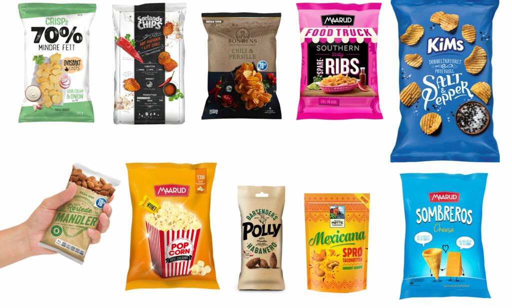 SNACKSNYTT: Det er mye nytt å velge mellom i snackshyllene i høst, her er noen av de største nyhetene.