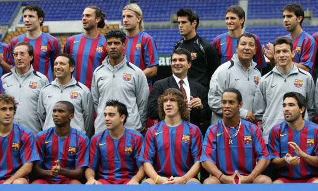 STJERNEGALLERI: Ronaldinho var en del av Barcelonas stjernegalleri. Foto: AFP PHOTO/LLUIS GENE/NTB Scanpix