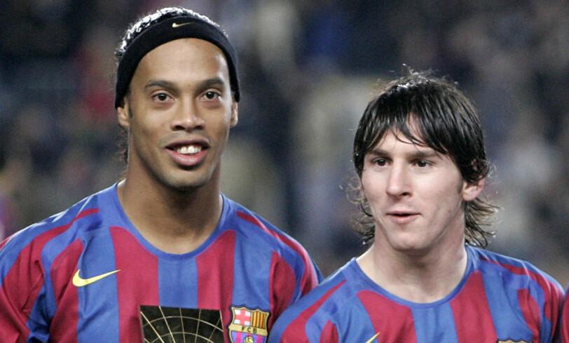 ELEV OG LÆREMESTER: Lionel Messi og Ronaldinho. Foto: AP Photo/Manu Fernandez/NTB Scanpix