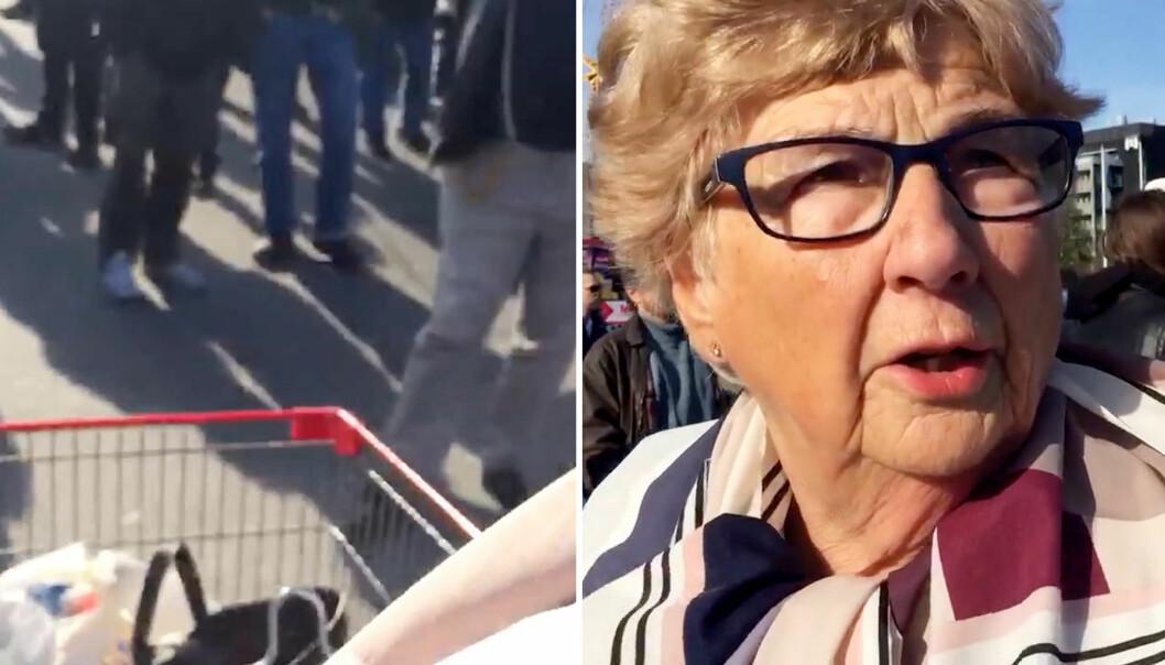 Ingegerd (83) pløyer seg gjennom nynazistene med handlevogna:- Jeg kjører rett på dem